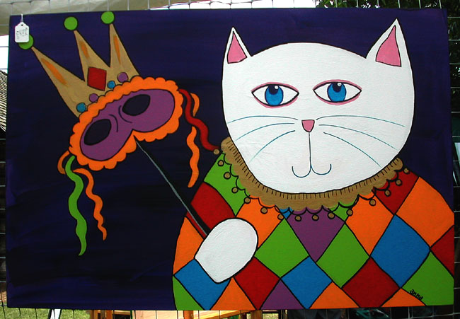 "Click here to go to larger image of ""Mardi Gras Cat"""